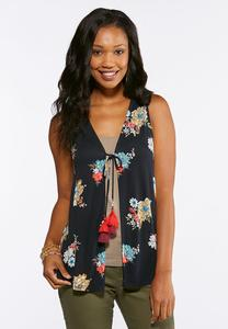 Plus Size Tasseled Floral Vest