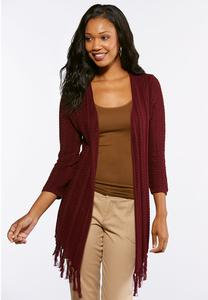 Plus Size Fringe Hem Cardigan Sweater