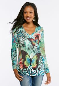Plus Size Embellished Butterfly Top