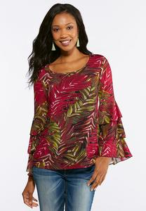 Ruffled Feather Printed Top