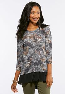 Wild Paisley Layered Top