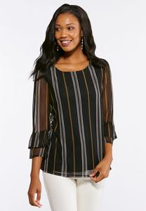 Plus Size Striped Mesh Top