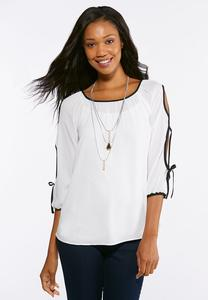 Contrast Slit Sleeve Top
