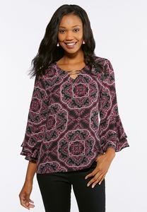 Embellished Flounced Sleeve Top