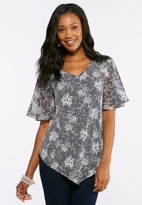 Textured Contrast Floral Top