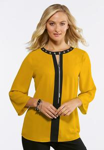 Plus Size Grommet Two-Toned Top