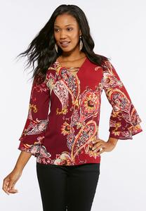 Plus Size Wine Embellished Flounced Sleeve Top