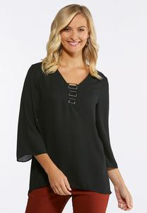 Plus Size Embellished V-Neck Top