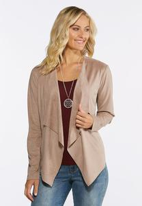 Plus Size Draped Faux Suede Jacket