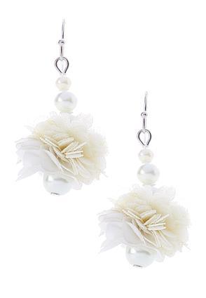 Fabric Flower Pearl Dangle Earrings | Tuggl