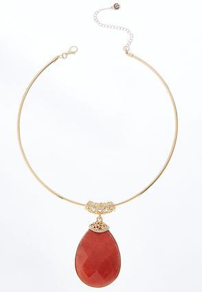 Stone Pendant Wire Necklace | Tuggl