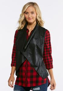 Plus Size Crackled Faux Leather Vest