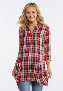 Plaid Handkerchief Hem Tunic