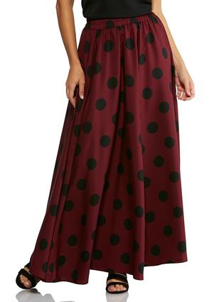 Wine Polka Dot Maxi Skirt