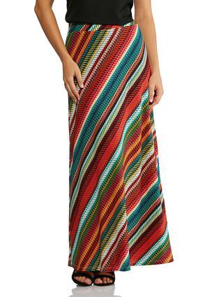 Plus Size Dash Stripe Maxi Skirt | Tuggl