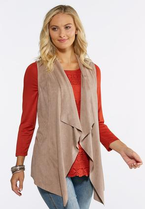 Plus Size Draped Faux Suede Vest