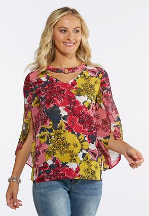 Floral Tulip Sleeve Top | Tuggl