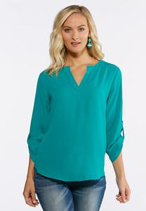 Plus Size Solid Cutout V-Neck Top