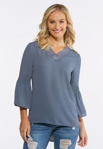 Plus Size Crochet Trim Bell Sleeve Top