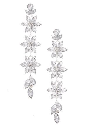 Linear Rhinestone Flower Earrings