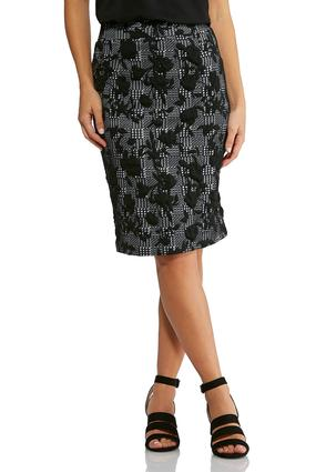 Floral Check Pencil Skirt