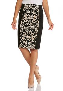 Plus Size Textured Scroll Print Skirt