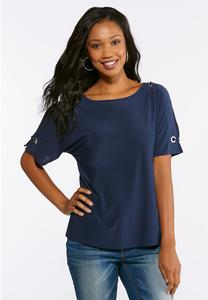 Cold Shoulder Grommet Embellished Top