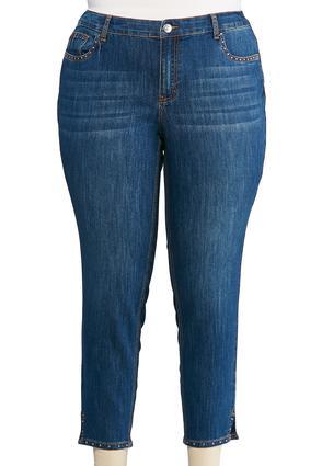 Plus Size Stud Embellished Ankle Jeans   Tuggl