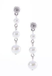 Linear Faux Pearl Earrings