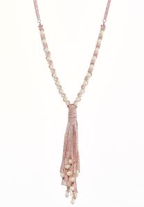 Metallic Pearl Tassel Necklace