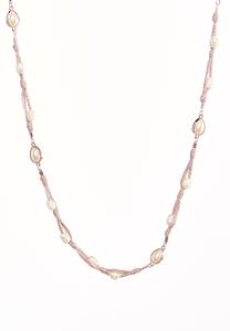 Pearl Metallic Thread Necklace