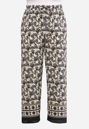 Plus Size Scroll Paisley Palazzo Pants | Tuggl