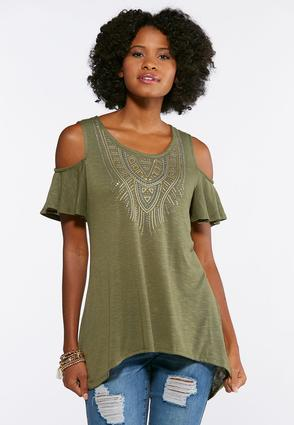 Plus Size Cold Shoulder Sharkbite Top