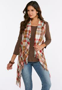 Fall Plaid Fringe Vest