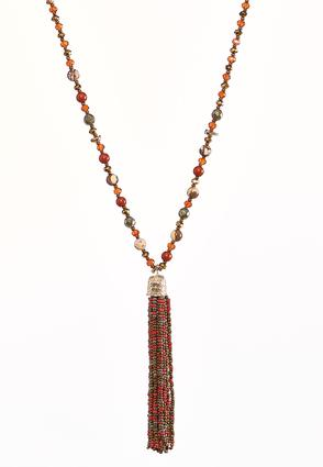 Autumn Bead Tassel Necklace | Tuggl