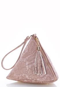 Lace Embossed Pyramid Wristlet