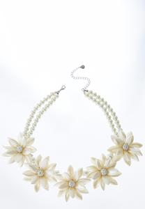 Pearl Flower Stone Necklace