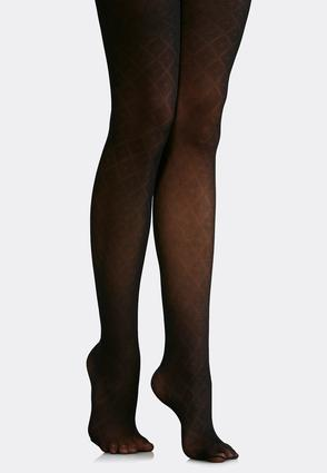 Plus Size Dot Diamond Opaque Tights