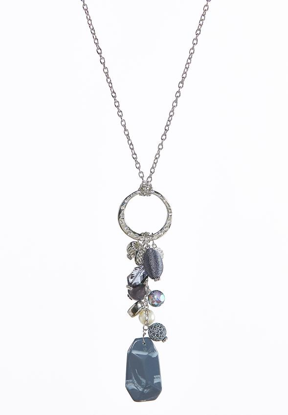 Stone cluster pendant necklace long cato fashions stone cluster pendant necklace alternate view stone cluster pendant necklace aloadofball Images