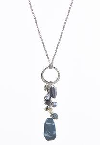 Stone Cluster Pendant Necklace