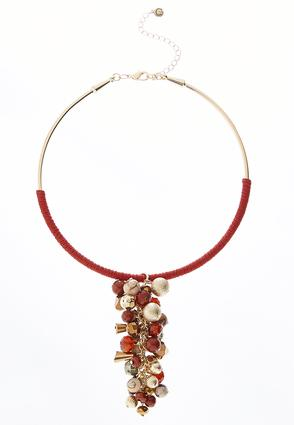 Red Cluster Bead Necklace | Tuggl