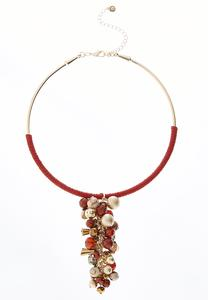 Red Cluster Bead Necklace