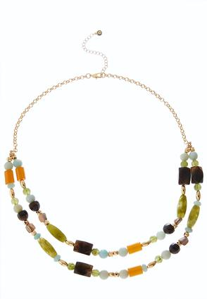 Layered Green Bead Necklace | Tuggl