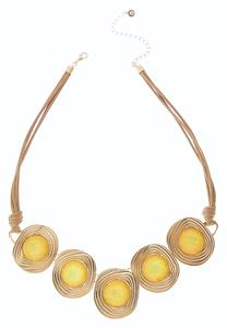 Stone Disc Corded Bib Necklace