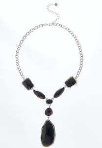 Colored Stone Chain Necklace