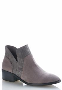 Textured Faux Suede Ankle Boots