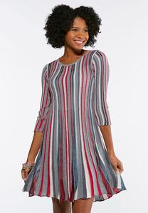 Multi Color Stripe Knit Flare Dress