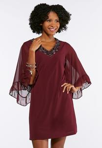 Embellished Ruffle Sleeve Dress