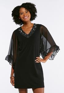 Plus Size Embellished Ruffle Sleeve Dress