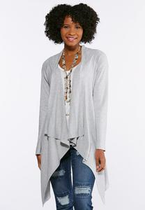 Gray Waterfall Cardigan Sweater